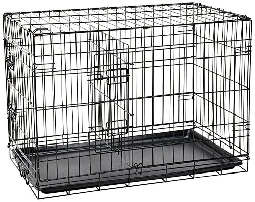Paws & Pals 30' Large Dog Crate, Double-Doors Folding Metal w/ Divider & Tray 30' x 18' x 20' 2016 Newly Designed Model