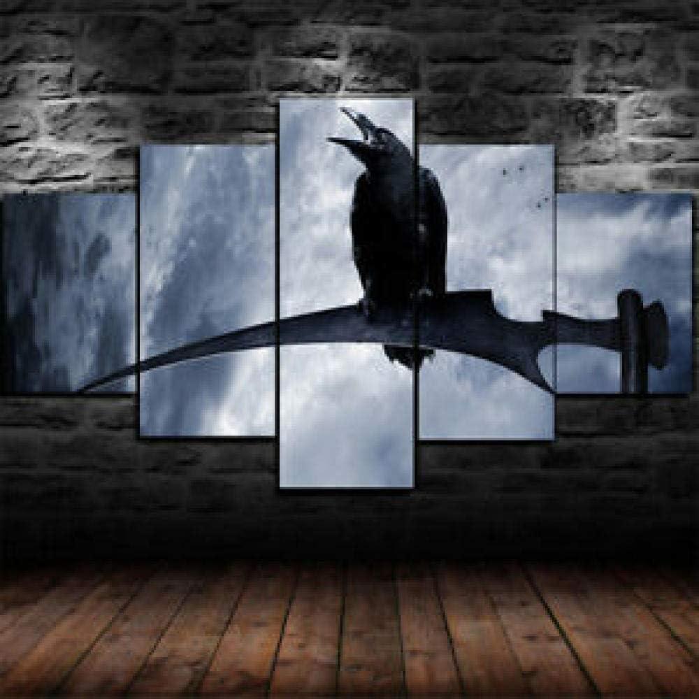 37Tdfc 5 Piezas Lienzo para Pintar Gótico Cuervo Segador Guadaña Muerte Cuadro en Lienzo 150 x 80 cm Impresión de Lienzo de Pared Cuadros Murales Decoracion pared Salon Dormitorios Decoracion Modernos