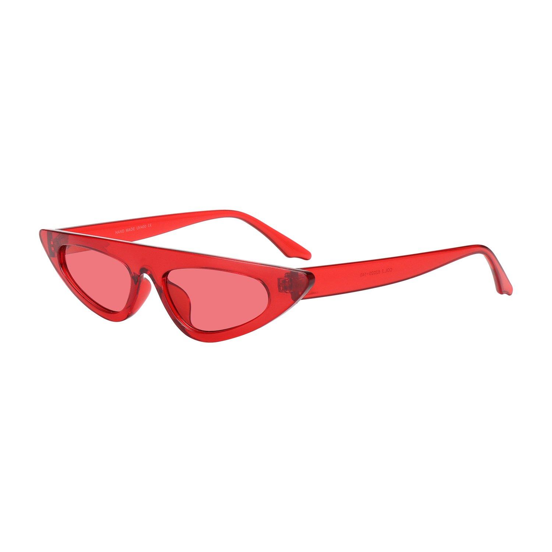 ROYAL GIRL Cat Eye Flat Top Sunglasses Women Retro Vintage Clout Goggles Designer narrow Shades (red)