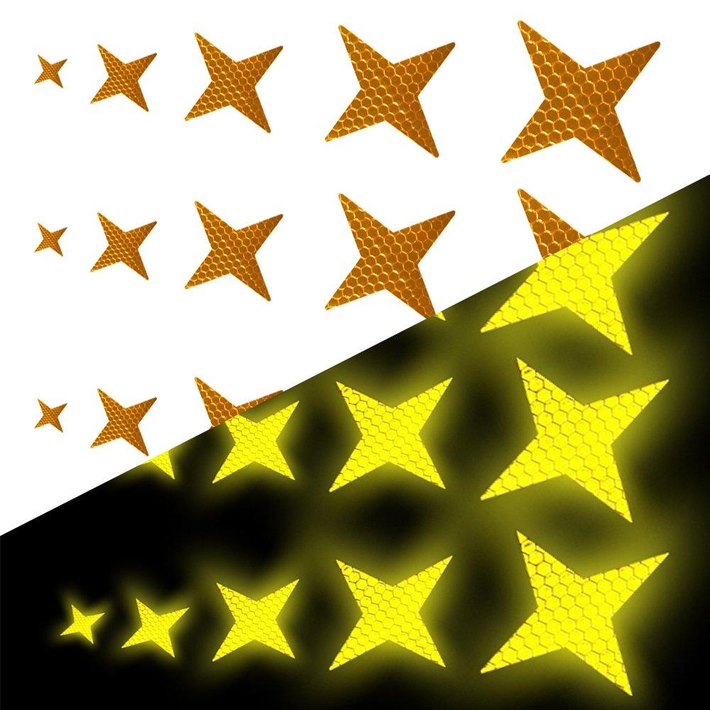 Tuqiang Forma de Estrella de Cuatro Puntas Cinta Reflectante Impermeable Pegatina para Excavadora de Tractor Scooter Alta Visibilidad Cinta Adhesiva Reflectante 25 Piezas Rojo
