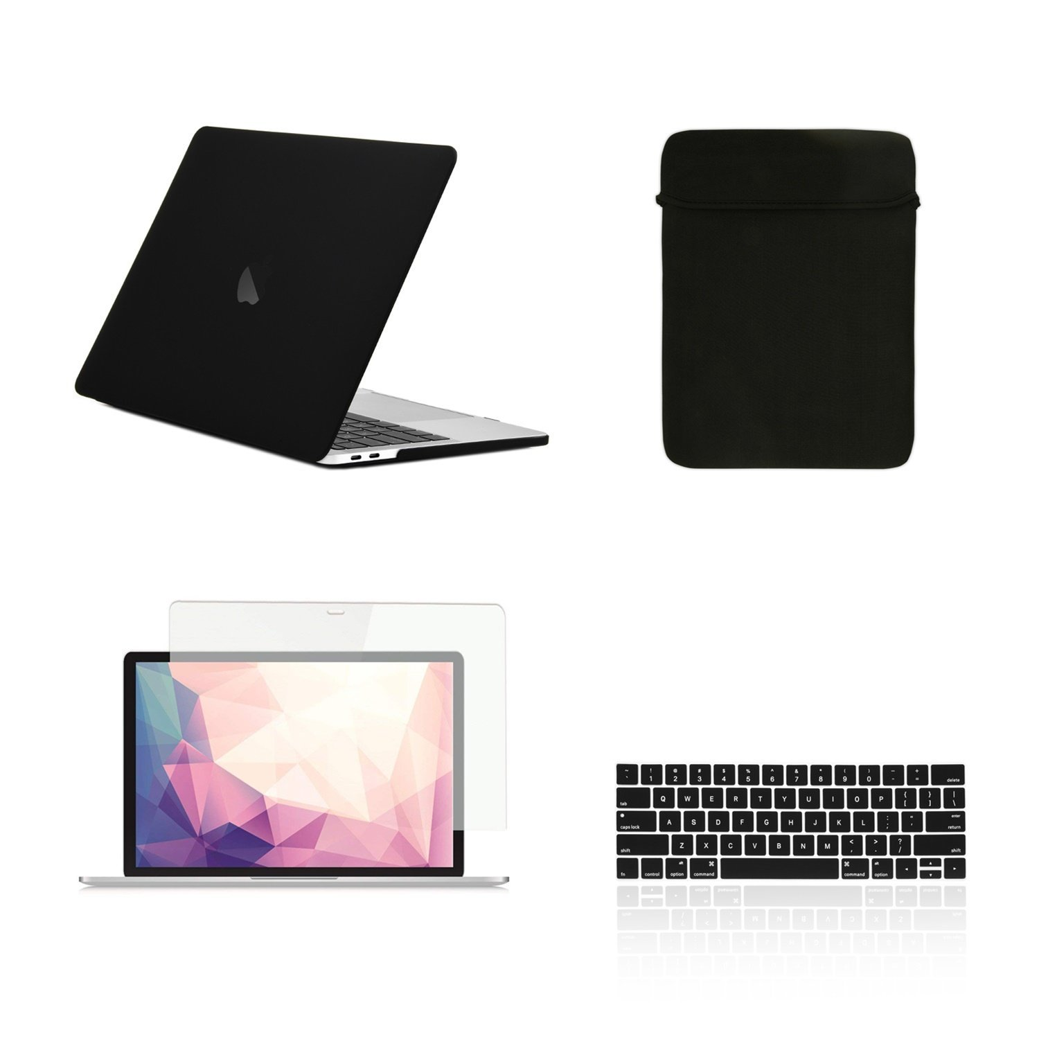 TOP CASE - 4 in 1 Matte Hard Case,Keyboard Cover,Sleeve Bag,Screen Protector Compatible with MacBook Pro 13-inch A1989,A1706 with Touch Bar/A1708 Without Touch Bar (Release 2017,2016,2018) - Black by TOP CASE (Image #1)