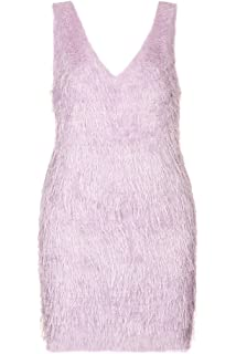 Topshop Stunning Fringe Fluffy Lilac Party Dress