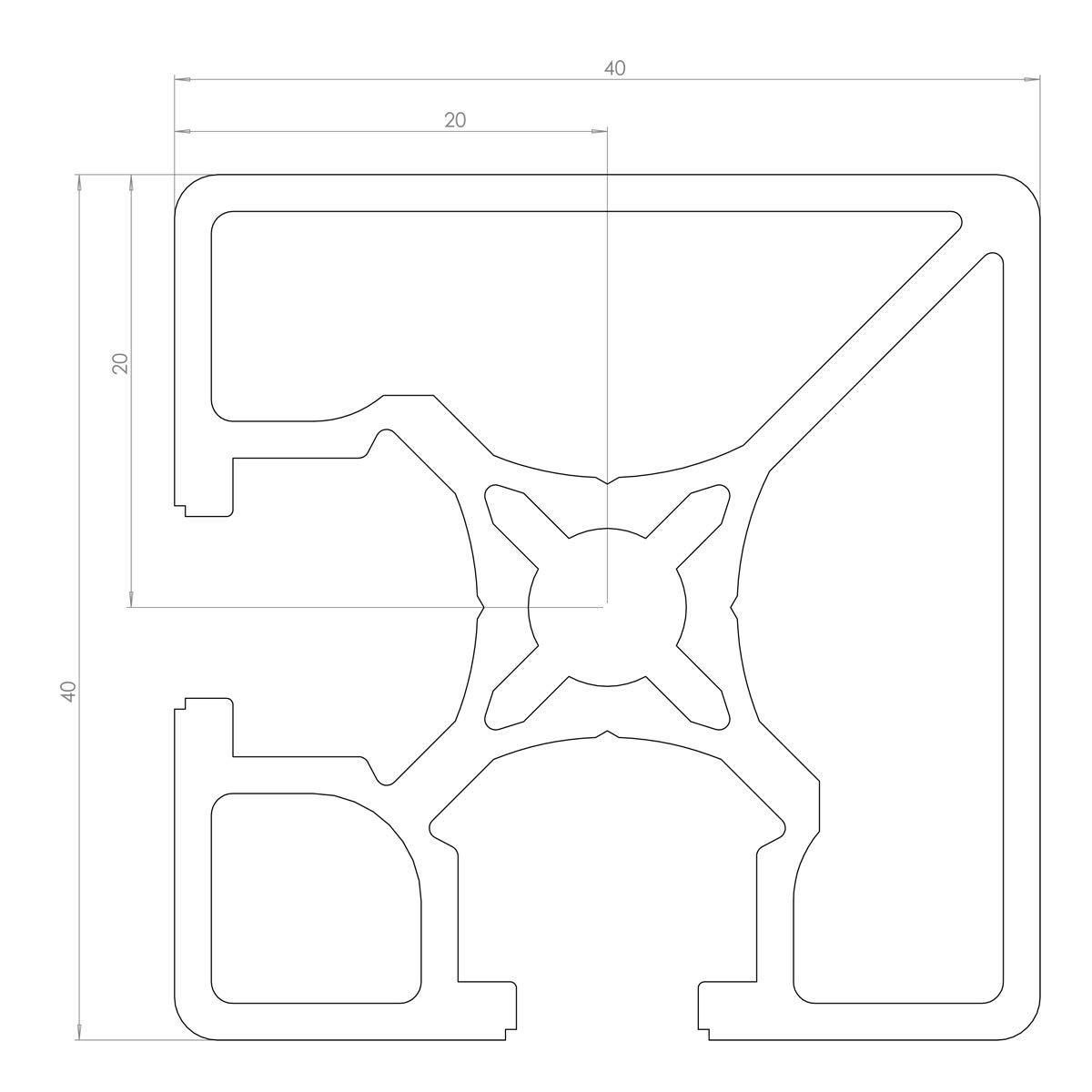 Aluminium PROFILE 40X40 ARCANE 2Faces fermées Rainure de 8mm