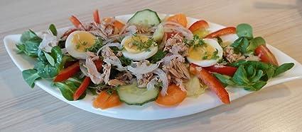 LAMINADO 54 x 24 Póster: ensalada platos de ensalada atún pepino naranja cebolla tomate huevo