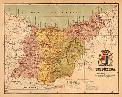 GIPUZKOA GUIPÚZCOA San Sebastian Euskadi. Mapa Antiguo Provincia. Martin - c1911 - Mapa Antiguo Vintage - Mapas Impresos de España: Amazon.es: Hogar