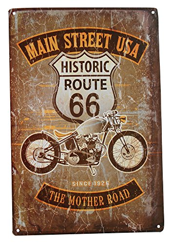 Strosportsandtech Route 66 Mother Road Motorcycle Retro Vintage Tin Sign