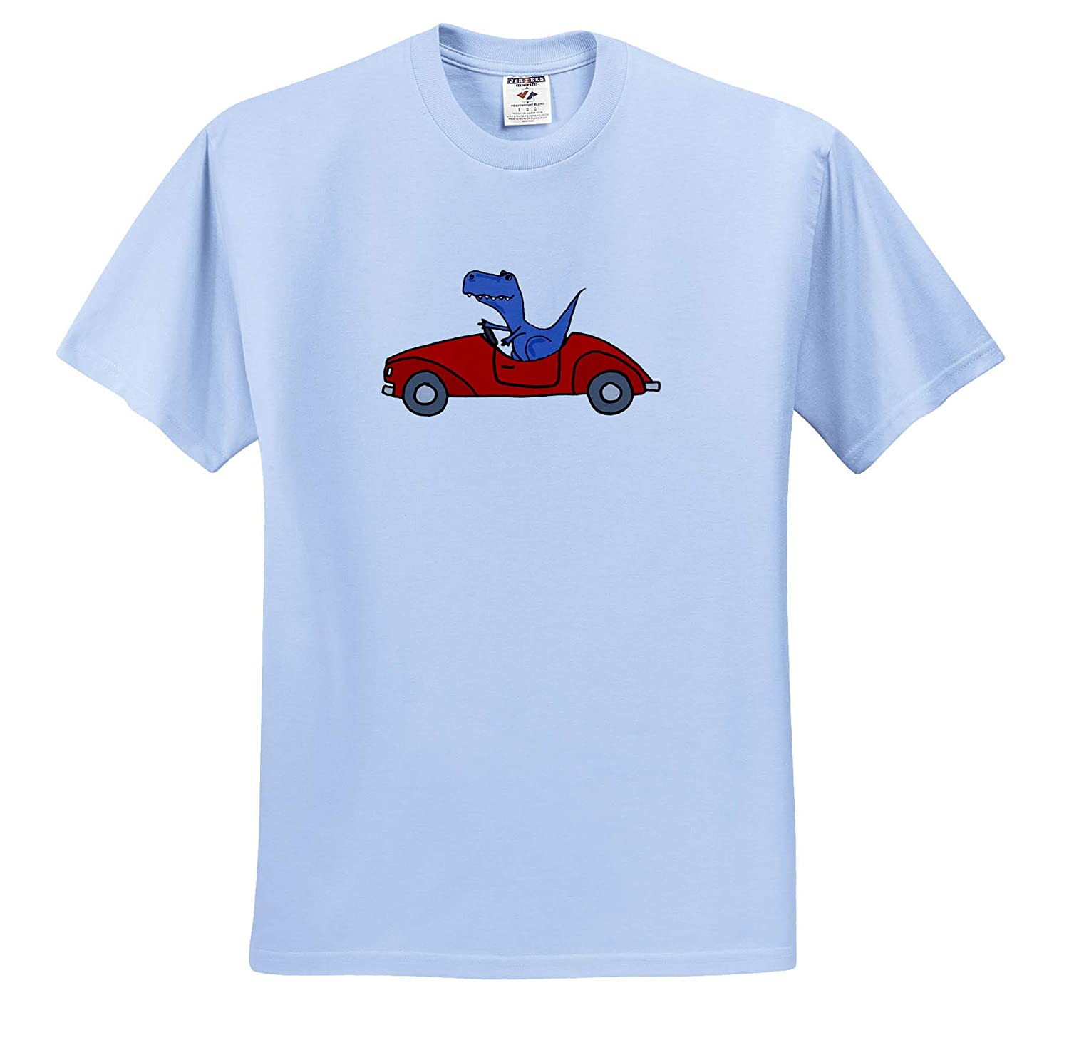 Adult T-Shirt XL Funny Funny Cute T-rex Dinosaur Driving Red Convertible Car ts/_317709 3dRose All Smiles Art