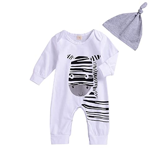 Unmega Baby Boy Girl Striped Jumpsuit Long Sleeve Onesie Zebra Romper with  Hat 2Pcs Clothes Outfit 0c8c07192