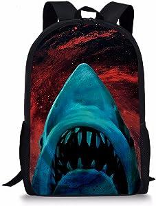 Dzulife Blue Shark Head School Backpack 1st 2nd 3rd 5th 6th Grade for Boys Teen Kids Bookbags Elementary Lightweight Red