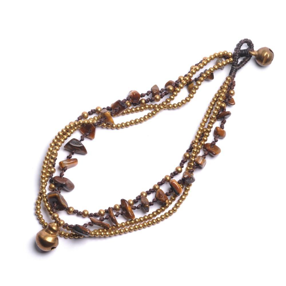 81stgeneration Bracelet de perles de charme brun laiton yeux de nouveau Tiger cheville 02msSPA062