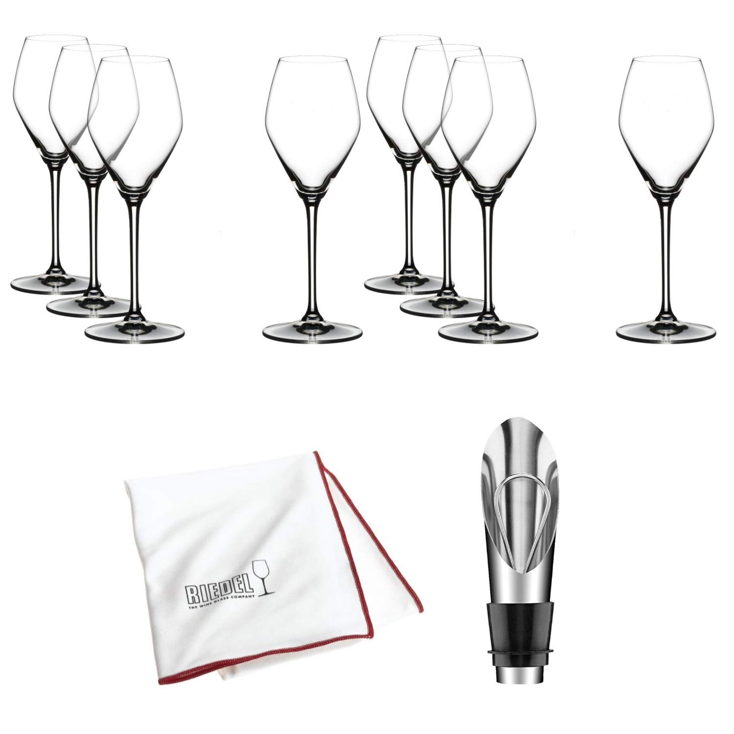 Riedel Extreme Crystal Champagne/Rose Wine Glass, Set of 8 Glasses Includes Wine Pourer with Stopper, Bottle Opener and Polishing Cloth