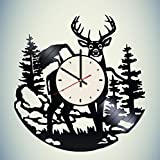 Wild Deer Vinyl Wall Clock Animal Unique Gifts Living Room Home Decor