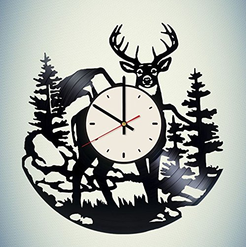 Wild Deer Vinyl Wall Clock Animal Unique Gifts Living Room Home Decor by Wall Gifts