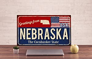 Diuangfoong Nebraska Wall Sign Nebraska Metal Sign Cornhusker State Sign Custom Text Sign Traveler Plaque Door Sign Decor Bar Decor Rustic Metal Sign - 12×16 inches