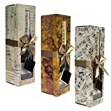 Champagne Gift Box - Pomerol Collection - Reusable - Set of 3 Assorted - Easy to Assemble -No Glue Required - Ribbon Tie and Gift Tag Included - Lid with Window Design - EZ Gift Box By Endless Art US