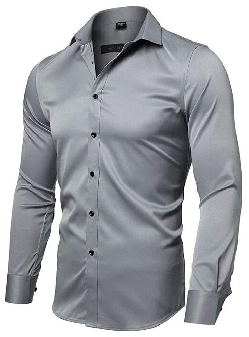 SELX Men Loose Solid Button Down Business Long Sleeve Dress Shirts