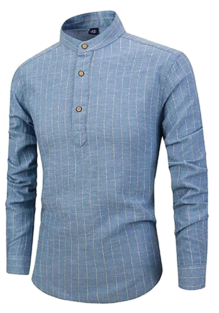 Fubotevic Men Stand Collar Cotton Linen Long Sleeve Stripe Print Henley Shirts