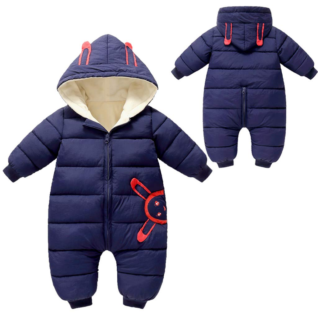 Gallity Unisex Baby Hooded Puffer Jacket Romper Jumpsuit Winter Warm Thicken Coat Onesie Snowsuit Clothes (3-6 Months, Blue) by Gallity Baby Coat