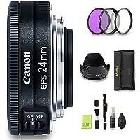 GYTE Bundle | Canon Objektiv - EF-S 24 mm 1:2,8 STM - Pancake Objektiv für Canon Spiegelreflexkamera + 3-teiliges Filterset + Streulichtblende + Reinigungsset | Premium Zubehör Bundle