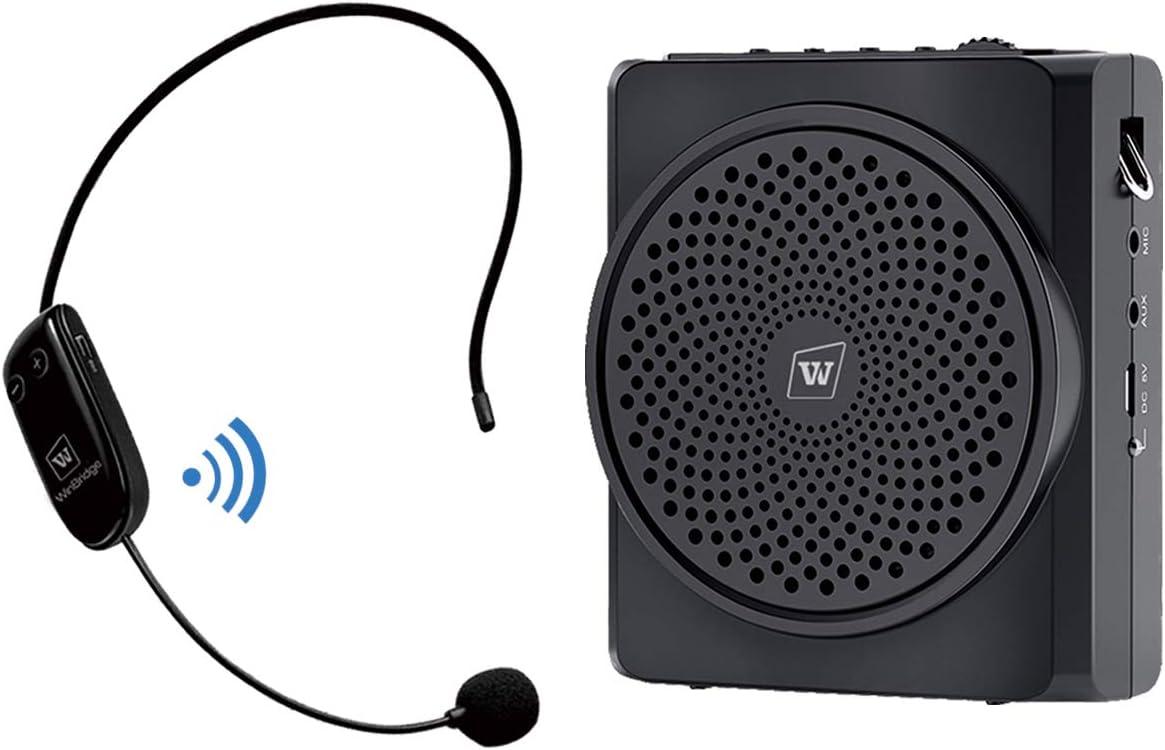 Amplificador de voz con micrófono inalámbrico, altavoz Pa portátil recargable de 16 W 2200 mAh y micrófono Bluetooth para profesores S619UHF
