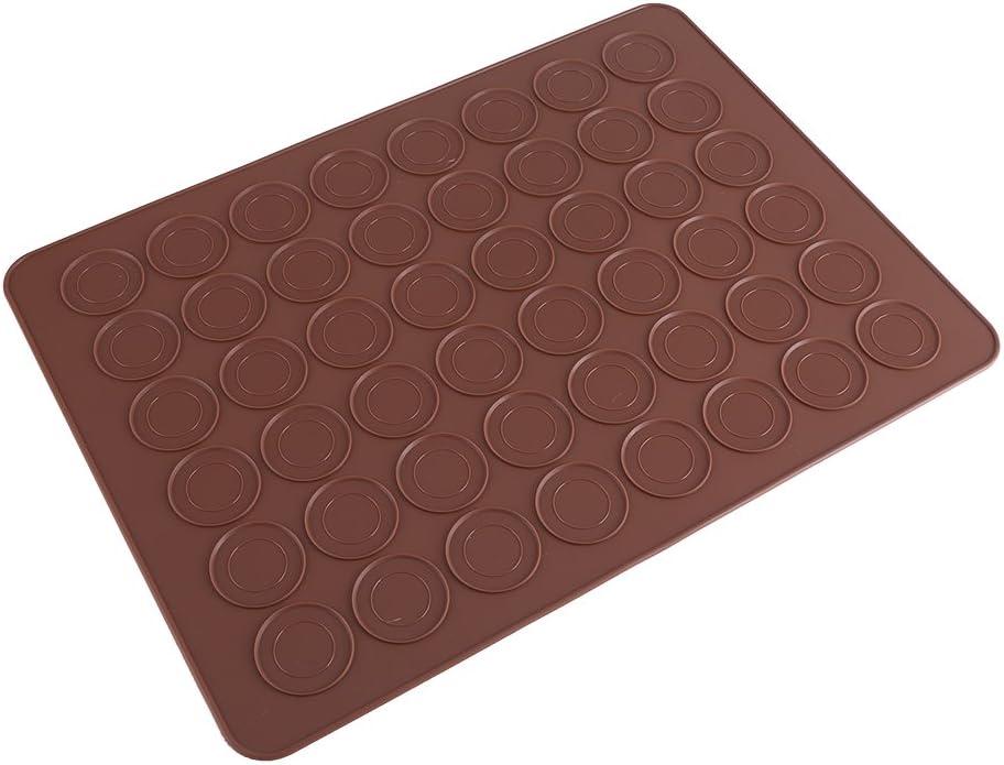 48 Hohlr/äume Macaron Mat Brown Brown Antihaft-Silikonform Backblech Kekse Geb/äck DIY Kuchen Muffin Backgeschirr Kaugummipaste Dekorationswerkzeuge
