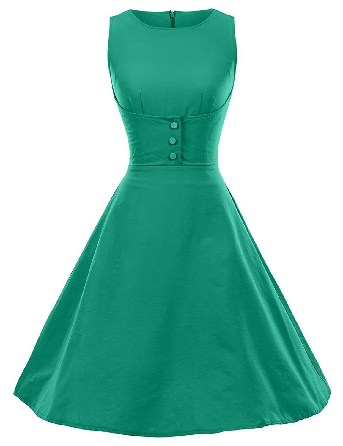 GownTown 1950s Vintage Dresses O-neck sleeveless Dresses Swing Stretchy Dresses