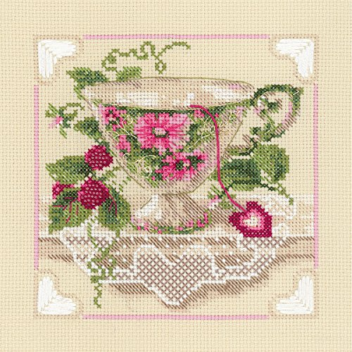 "Raspberry Tea Counted Cross Stitch Kit, 8"" x 8"", 14-Count"