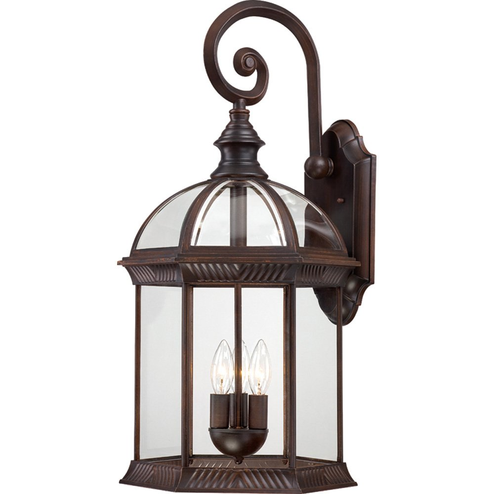 Nuvo Lighting 60/4968 Boxwood Three Light Large Wall Lantern/Arm Down 60 Watt Type B Max. Clear Beveled Glass Rustic Bronze Outdoor Fixture