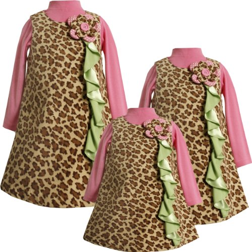 Bonnie Jean Baby/INFANT 12M-24M 2-Piece BROWN PINK GREEN CASCADE RUFFLE LEOPARD PRINT CORDUROY JUMPER Girl Dress Outfit/Set