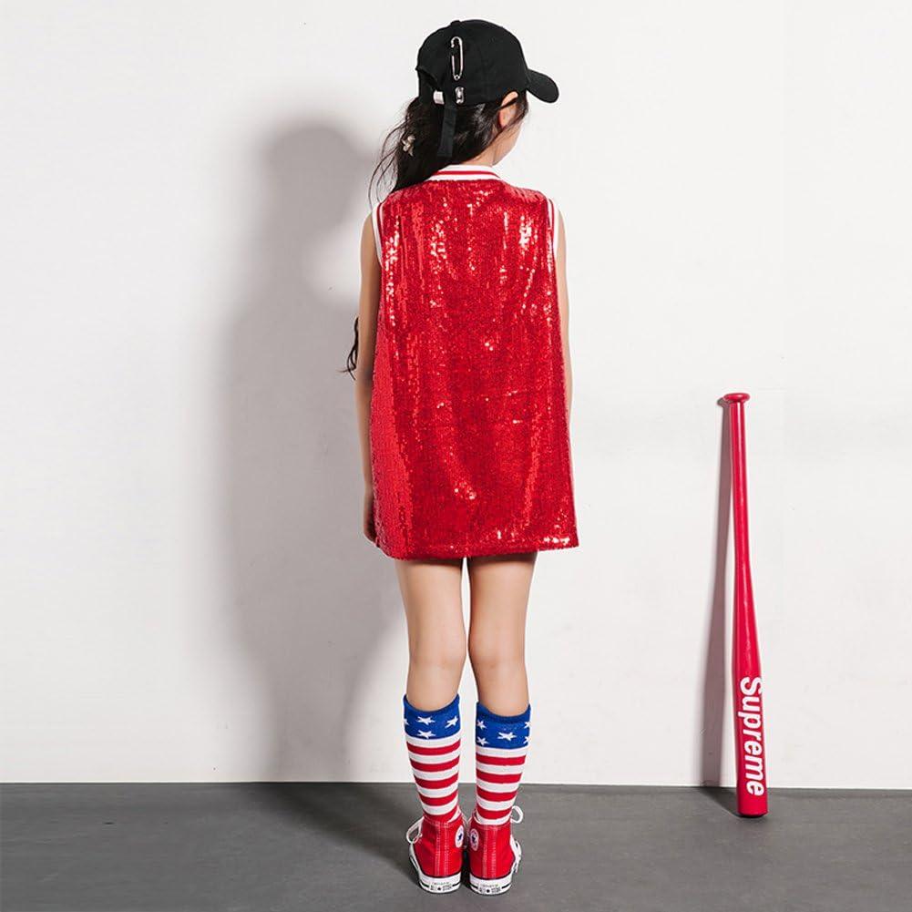 LOLANTA Traje de Lentejuelas para niñas Hip Hop Dancewear Sparkle ...