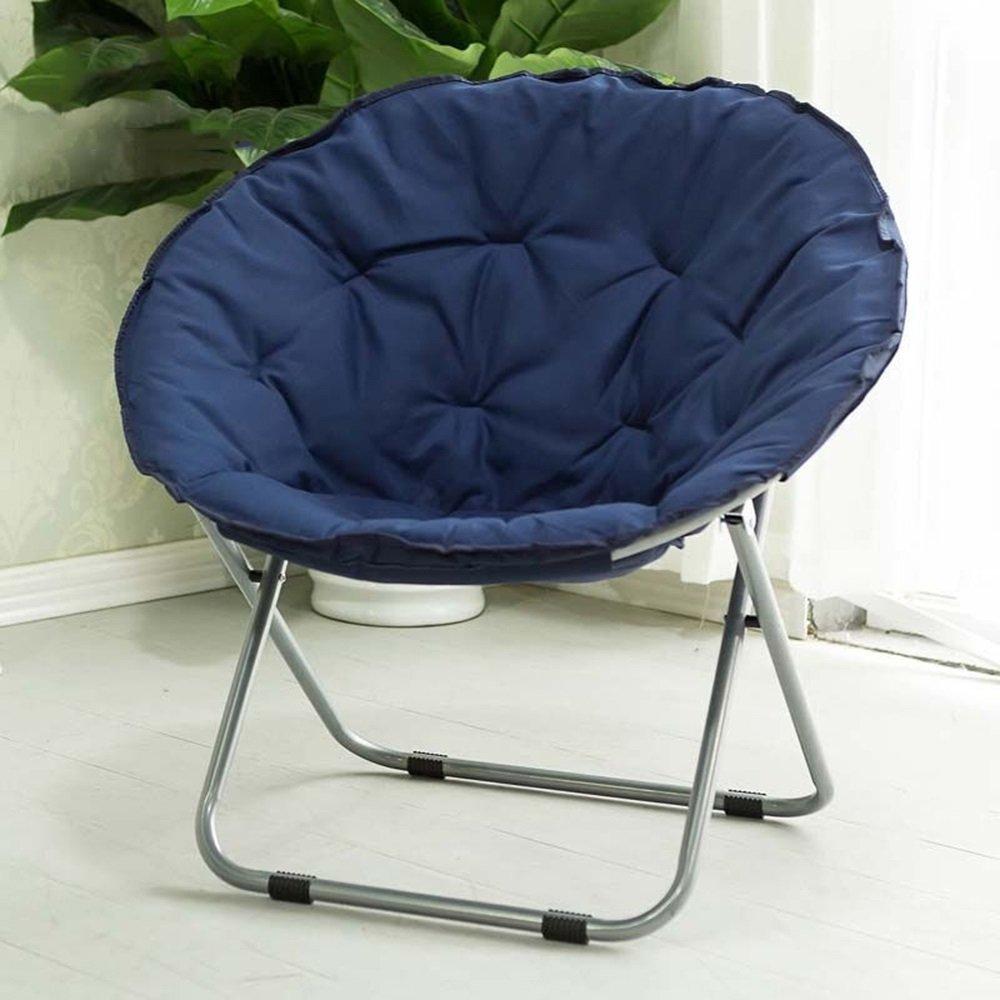 Folding chair / Round Leisure Folding Chair / Moon Chair / Home Folding Chair / Recliner /Home lazy sofa /Sun loungers /Balcony lounge chair / ( Color : Dark blue )