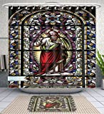 Unique Custom Bathroom 2-Piece Set Sacred Heart Of Jesus Pictures Catholic Gifts Believe Art Christian Church Cathedral Window View Silky Sa Shower Curtains And Bath Mats Set, 71''Wx79''H & 31''Wx20''H