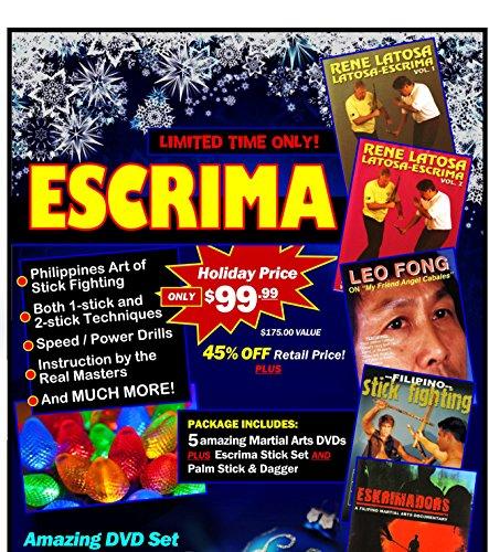 Price comparison product image Filipino Martial Arts Escrima Gift Set 5 DVDs + Rattan Stick / Daga Set $175 Value