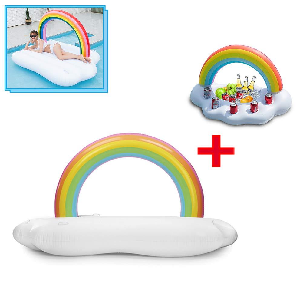 TZTED Schwimmsitz Aufblasbares Pool Aufblasbarer Regenbogen Wolke schwebende Reihe Wasserspielzeug Sommer Spaß Natural