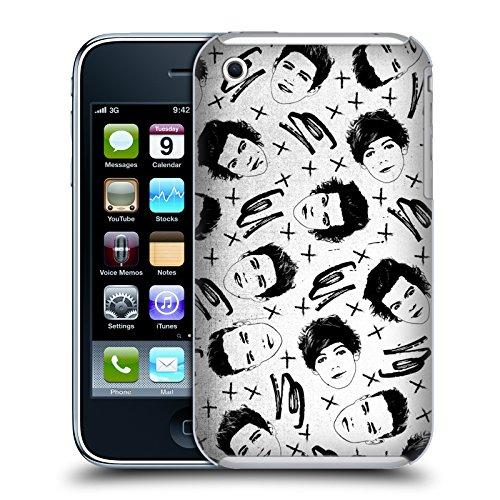 Officiel One Direction Groupe Blanc Motifs Griffonnage Visage Étui Coque D'Arrière Rigide Pour Apple iPhone 3G / 3GS