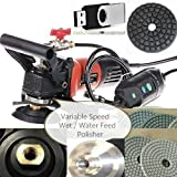 4'' to 5'' Variable Speed Wet Polisher (1000W) 4'' Diamond Polishing Pad 45 Piece 5 Extra Carbon Brushes stone fabrication DVD granite marble countertop undermount sink floor tile renew