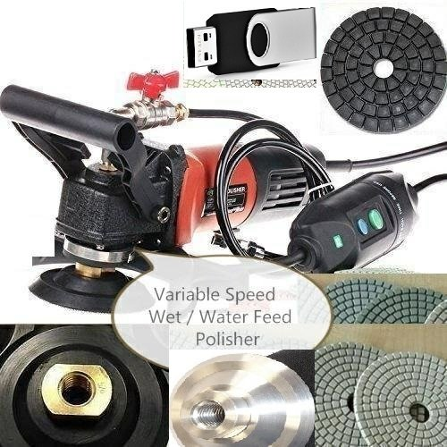 4'' to 5'' Variable Speed Wet Polisher (1000W) 4'' Diamond Polishing Pad 45 Piece 5 Extra Carbon Brushes stone fabrication DVD granite marble countertop undermount sink floor tile renew by Asia Pacific Construction