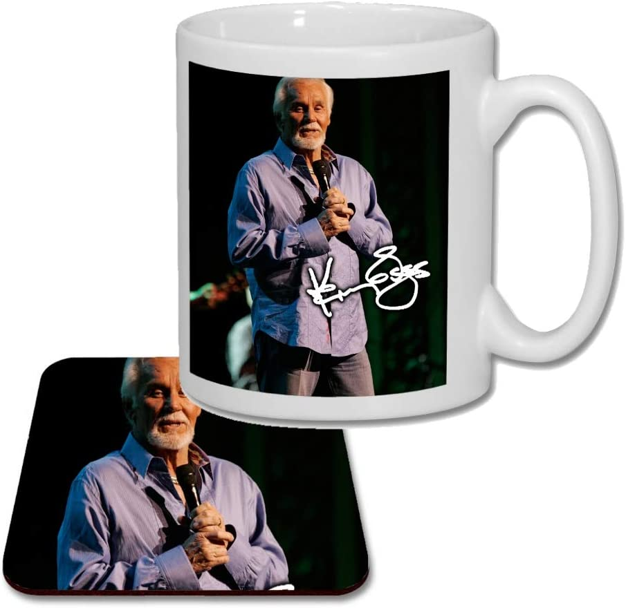 V1 Kenny Rogers Matching Mug and Coaster Gift Set Ideal Valentines Birthday Present 2019