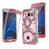 NWNK13® Samsung Galaxy S7 EDGE Plain / Patterned Floral Shock Absorbing 360° Protective Front and Back Complete TPU Silicon Gel Case Cover with Card Organiser.