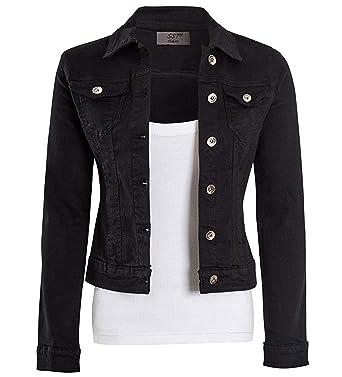 Womens Fitted Stonewash Denim Jacket Stretch Jean Jackets Size 6 8 10 12 14