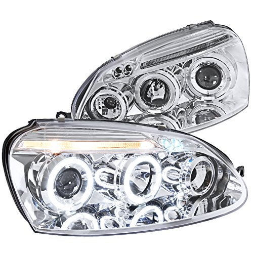 Spec-D Tuning LHP-GLF05-TM Volkswagen Golf Rabbit Jetta Clear Chrome Halo Led Projector Head Lights