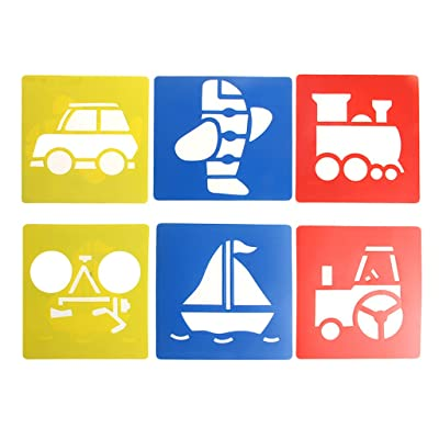 HOWWOH Painting Tool, 6X Children Transport Shaped Plastic Painting Drawing Template Stencil Kids Toy - Color Randomly: Home & Kitchen [5Bkhe0302173]