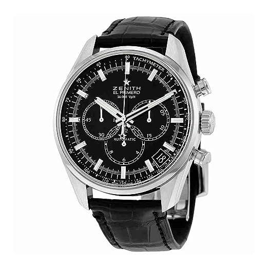 Zenith el primero de los hombres automático suizo reloj Casual de cuero y acero inoxidable