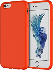 JETech Silicone Case Compatible withiPhone 6s/6 4.7 Inch, Silky-Soft Touch Full-Body Protective Case, Shockproof Cover with Microfiber Lining, Orange Red
