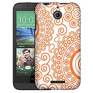 HTC Desire 510 Case, Slim Fit Snap On Cover by Trek Paisley Circles Orange on White Case