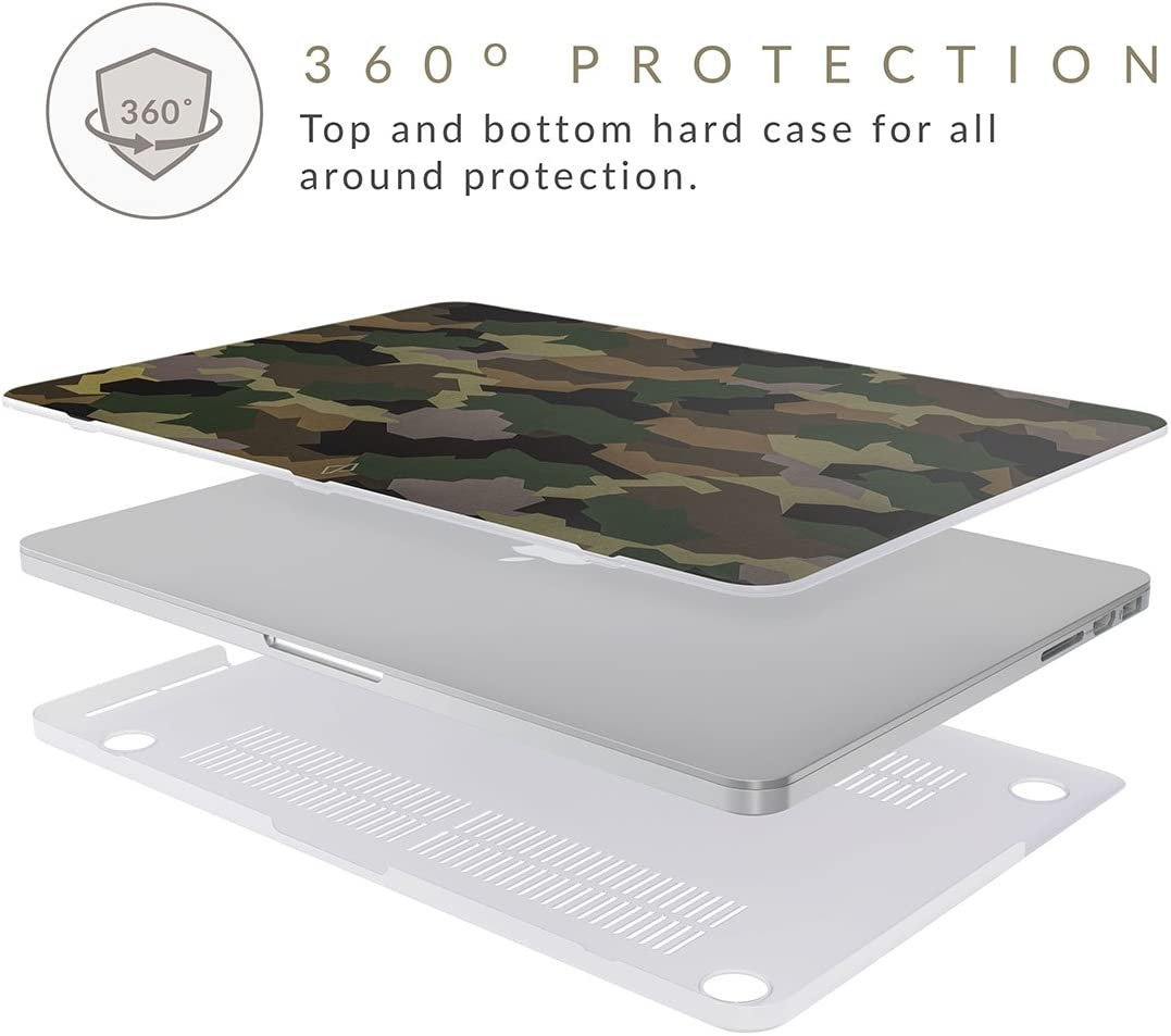 BURGA Coque pour Macbook Pro 15 Pouces Housse en Plastique /Étui Rigide Mod/èle A1707 2016//2017//2018 avec Touch Bar Vert Camo Camouflage Motif Tropical Military Army Green Case Cover A1990