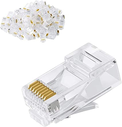 EZ Crimp Connector UTP Network Unshielded Plug for Twisted Pair Solid Wire /& Standard Cable RJ45 Cat6 Pass Through Connectors and Cable Strain Relief Boots Pack of 50//50 100 Total