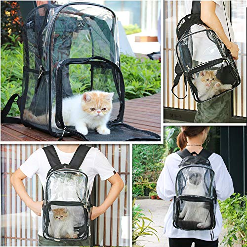 Black BLLXMXM Pet Backpack Pet Cat Backpack   Transparent Cat Bag Summer   Outdoors Convenience Pack Summer   Air Shoulder Bag,Black