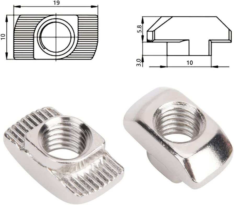 Cortadores l/áser CNC para enrutadores CNC Tuerca en T Tuerca M8 de procesi/ón precisa de acero al carbono