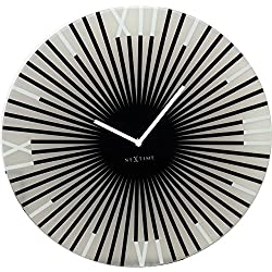 Unek Goods NeXtime Sticks Wall Clock, Medium Round, Glass, Battery Operated, Black